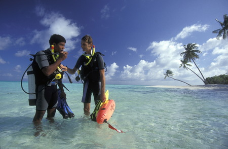 south male atoll: A diving school on the island Velavaru in the South Male Atoll in the islands of the Maldives in the Indian Ocean