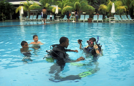south male atoll: A diving school on the island Velavaru in the South Male Atoll in the islands of the Maldives in the Indian Ocean Flüeler