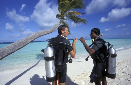 south male atoll: A diving school on the Iceland Velavaru in the South Male Atoll in the islands of the Maldives in the Indian Ocean Fl�eler Editorial