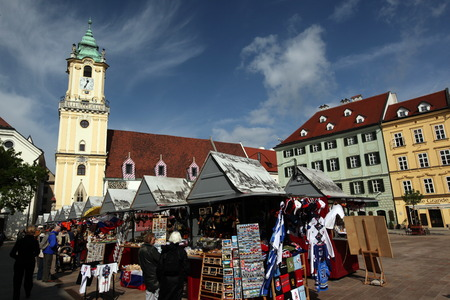 old town townhall: in the Old Town of Bratislava, the capital on the Danube in Slovakia in Eastern Europe Editorial