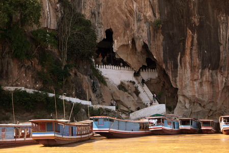ou: The Pak Ou Caves in Luang Prabang in Central Laos Laos in South East Asia