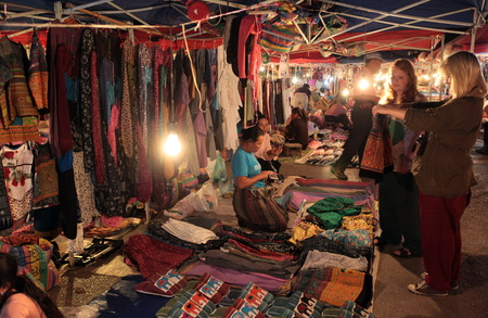 lao: On the night market in the old town of Luang Prabang in Laos of Central Laos in South East Asia