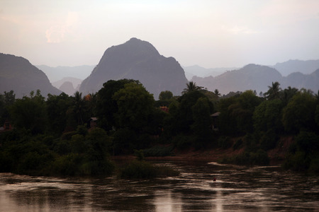 bang pa in: The landscape on the Xe Bang Fai River near the village of Tham Pa Fa Mahaxai May from near the town of Tha Khaek in central Laos on the border with Thailand in Southeast Asia