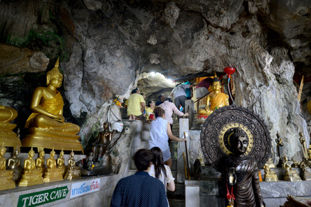 sued: The Temple Wat Tham Seau outside the City centre of Krabi on the Andaman Sea in the south of Thailand.