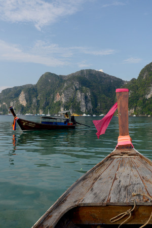 a Boat on the way to Maya Beach  near the Ko Phi Phi Island outside of the City of Krabi on the Andaman Sea in the south of Thailand.  Editoriali