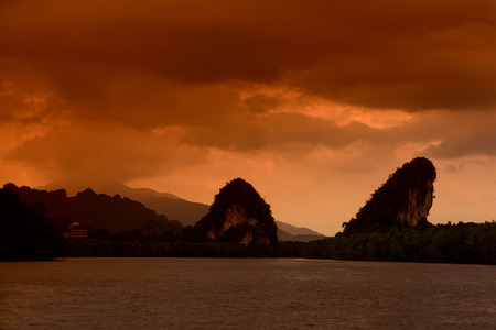 ferien: The mangroves at a lagoon near the City of Krabi on the Andaman Sea in the south of Thailand.  Stock Photo
