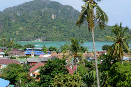 sued: The view from the Viewpoint on the Town of Ko PhiPhi on Ko Phi Phi Island outside of the City of Krabi on the Andaman Sea in the south of Thailand.  Editorial
