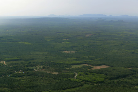 The Mountains with palmoil plantations near the City of Krabi on the Andaman Sea in the south of Thailand.