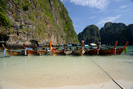 The Maya Beach  near the Ko Phi Phi Island outside of the City of Krabi on the Andaman Sea in the south of Thailand.  Editorial