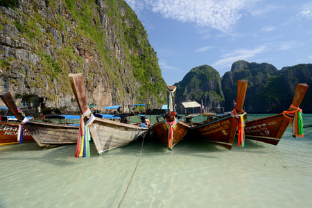 pp: The Maya Beach  near the Ko Phi Phi Island outside of the City of Krabi on the Andaman Sea in the south of Thailand.  Editorial