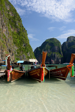 sued: The Maya Beach  near the Ko Phi Phi Island outside of the City of Krabi on the Andaman Sea in the south of Thailand.  Editorial