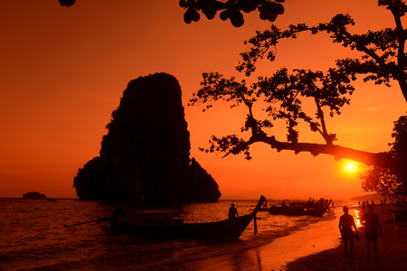 ao: The Hat Phra Nang Beach at Railay near Ao Nang outside of the City of Krabi on the Andaman Sea in the south of Thailand.