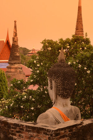 The Wat Yai Chai Mongkol Temple in City of Ayutthaya in the north of Bangkok in Thailand, Southeastasia. photo