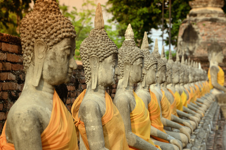 ayuttaya: The Wat Yai Chai Mongkol Temple in City of Ayutthaya in the north of Bangkok in Thailand, Southeastasia.