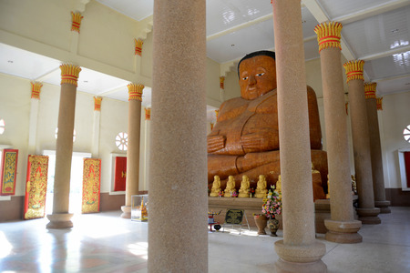 Reisen: a Temple in city centre of Amnath Charoen north of the City of Ubo Ratchathani in the east  of Thailand.  Editorial