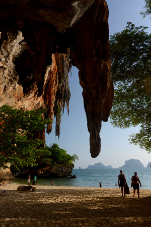 phra nang: The Hat Phra Nang Beach at Railay near Ao Nang outside of the City of Krabi on the Andaman Sea in the south of Thailand.