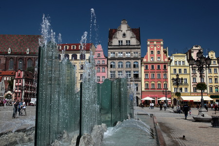 rynek: The Stray Rynek Square in the Old Town of Wroclaw or Wroclaw in the west of Poland. Editorial