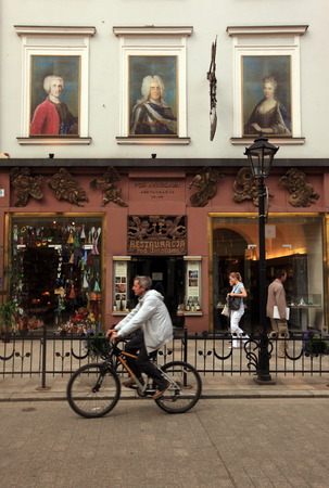 A bicycle in the old town of Krakow in sueden of Poland.