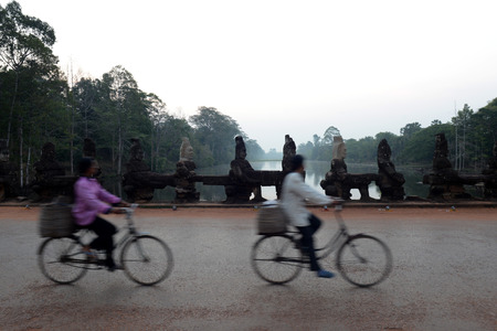 Reisen: The Bridge at the Angkor Tom Gate in the Temple City of Angkor near the City of Siem Riep in the west of Cambodia. Editorial