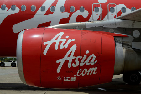 reisen: A Air Asia Airplane at the Airport of the City of Siem Riep in the west of Cambodia. Editorial