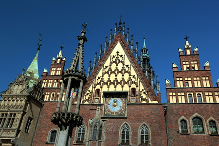 old town townhall: The Town Hall on the Stray Rynek Square in the Old Town of Wroclaw or Wroclaw in the west of Poland.