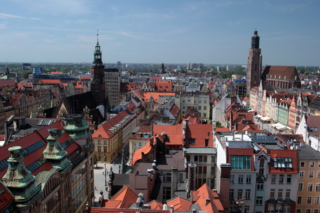 old town townhall: The Stray Rynek Square in the Old Town of Wroclaw or Wroclaw in the west of Poland. Stock Photo