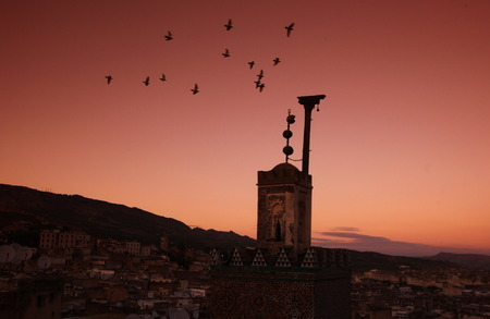 afrika: The Medina of old City in the historical Town of Fes in Morocco in north Africa. Stock Photo