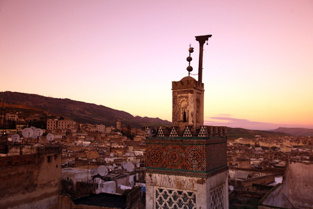 Reisen: The Medina of old City in the historical Town of Fes in Morocco in north Africa. Stock Photo