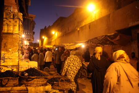 smal: a smal Market Road in the medina of old City in the historical town of Fes in Morocco in north Africa.