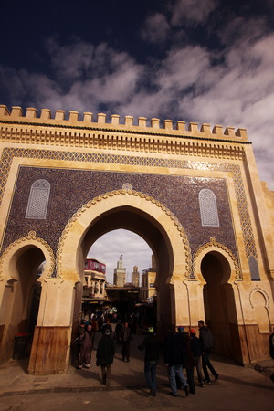 bab: The blue gate at the Bab Bou Jeloud in the old City in the historical town of Fes in Morocco in north Africa. Editorial