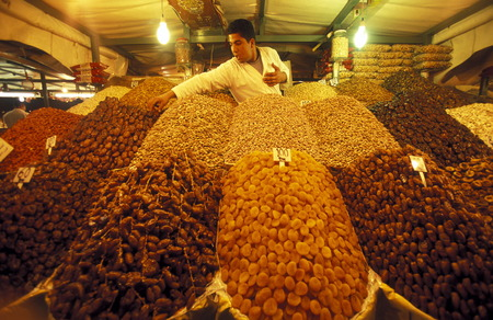 souq: The Souq or Bazzar or Market in the old town of Marrakesh in Morocco in North Africa.