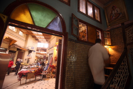 tea house: A Tea House and Cafe in the old City in the historical town of Fes in Morocco in north Africa.