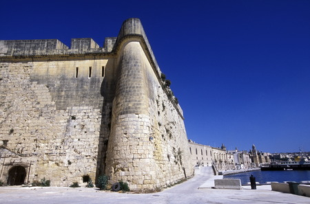 mauer: The centre of the Old Town of the city of Valletta on the Island of Malta in the Mediterranean Sea in Europe. Editorial