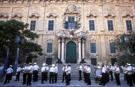 archtecture: The Auberge de Castile in the old Town of Valletta on Malta in Europe.