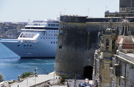 mauer: The centre of the Old Town of the city of Valletta on the Island of Malta in the Mediterranean Sea in Europe.
