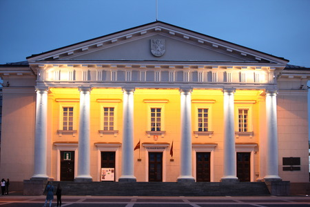 cityhall: The old Town of the City Vilnius with the Cityhall  in the Baltic State of Lithuania,   Stock Photo