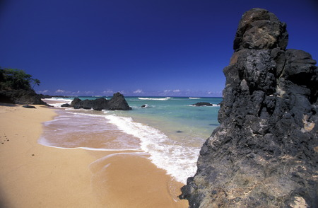 the beach of the village Moya on the Island of Anjouan on the Comoros Ilands in the Indian Ocean in Africa.    Stock Photo