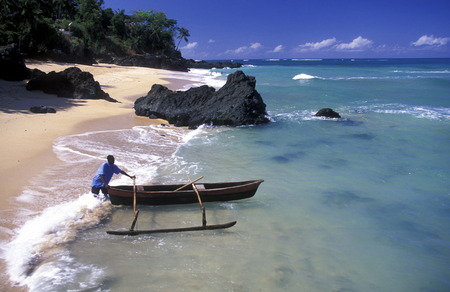 comores: the beach of the village Moya on the Island of Anjouan on the Comoros Ilands in the Indian Ocean in Africa.    Editorial