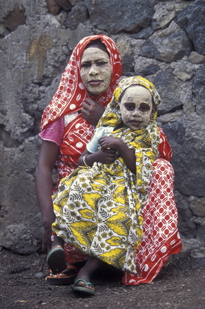 a women in the city of Moutsamudu on the Iceland of Anjouan on the Comoros in the Indian Ocean Ilands in Africa.
