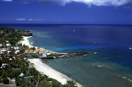 a Beach near St Gilles les Bains on the Island of La Reunion in the Indian Ocean in Africa. Stock Photo