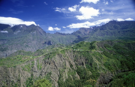 The landscape allround the Grand Bassin on the Island of La Reunion in the Indian Ocean in Africa.