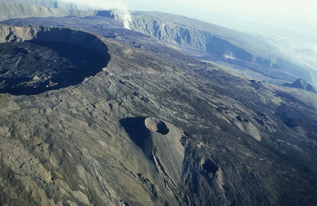 The Landscape allrond the Volcano  Piton de la Fournaise on the Island of La Reunion in the Indian Ocean in Africa.