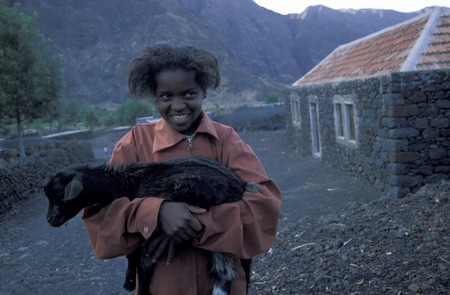 a Girl in the Fogo Fogo Volcano Village on the on the Iceland Fogo Cape Verde on the Atlantic Ocean in in Africa.