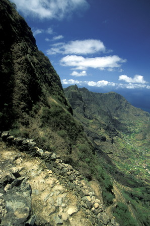 trecking: the landscape near the village of Ponta do Sol near Ribeira Grande on the Iceland of Santo Antao in Cape Berde in the Atlantic Ocean in Africa.