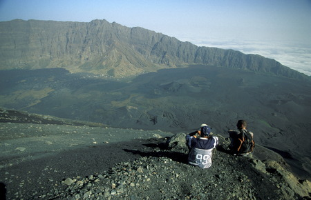 Tourists on the top of the Fogo Fogo Volcano Village on the on the Iceland Fogo Cape Verde on the Atlantic Ocean in in Africa.