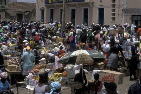praia: The main market in the city of Praia on Santiago Island in the archipelago of Cape Verde off Africa in the Atlantic Ocean.