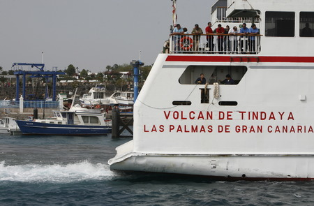 playa blanca: the Ferry on the conection from Playa Blanca on Lanzarote and Corralejo on Fuerteventura on the Canary Islands of Spain in the Atlantic Ocean. on the Island of Lanzarote on the Canary Islands of Spain in the Atlantic Ocean.