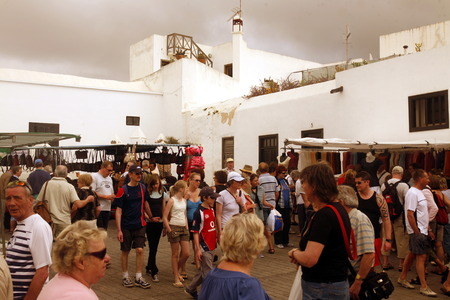 sonntag: the sunday market in the old town of Teguise on the Island of Lanzarote on the Canary Islands of Spain in the Atlantic Ocean. on the Island of Lanzarote on the Canary Islands of Spain in the Atlantic Ocean.  Editorial