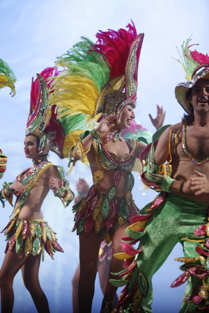 fasnacht: the carneval in the city of Las Palmas on the Island Gran Canary on the Canary Island of Spain in the Atlantic Ocean.