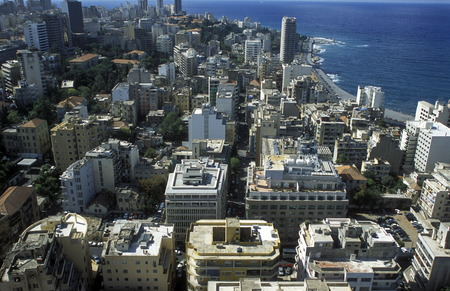 beirut: The city center of Beirut on the coast in Lebanon in the Middle East.